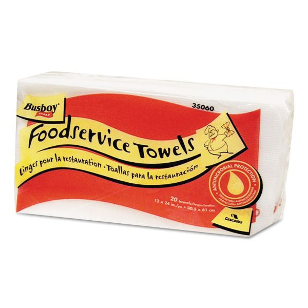 Cascades Busboy Guard Antimicrobial Towels, White/Red, 12 x 24, 20/Pack, 12 Packs/Carton