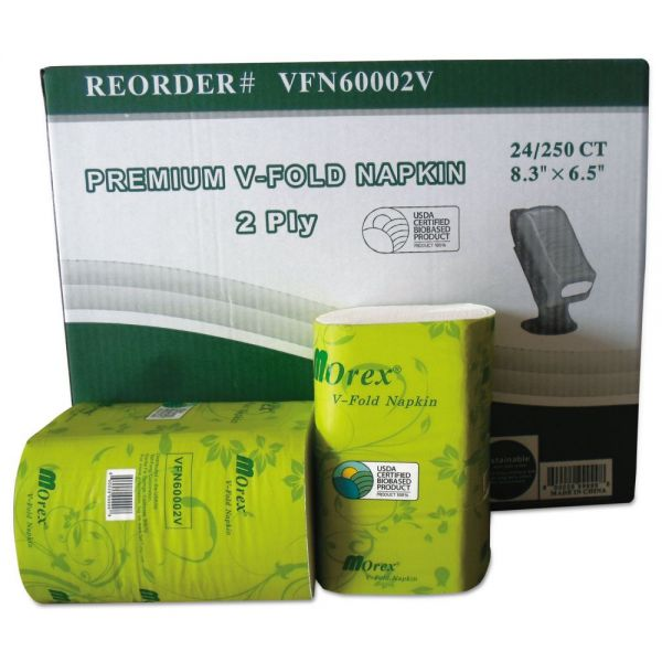 GEN Premium V-Fold Pop-Up Dispenser Napkin, Sugarcane Pulp,6.5x8.3,250/Pk, 24Pk/Ctn