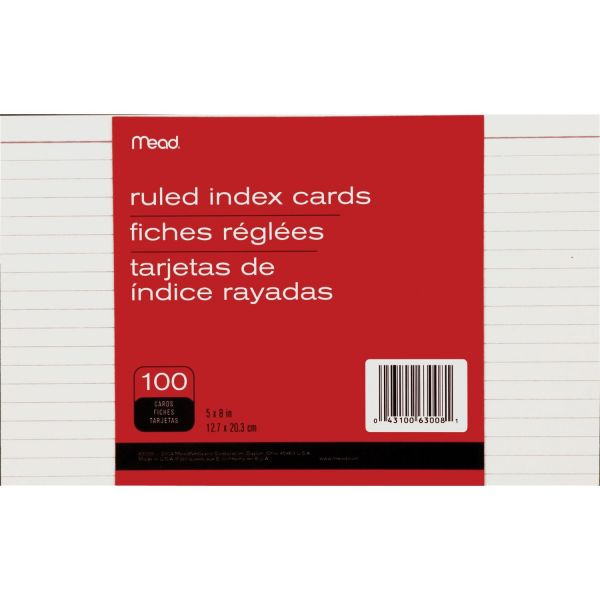 """Mead 5"""" x 8"""" Ruled Index Cards"""