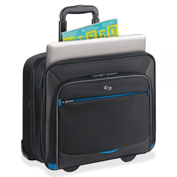 "Solo Tech Carrying Case (Roller) for 16"" Notebook, iPad, Tablet PC, Digital Text Reader, Accessories - Black, Blue"