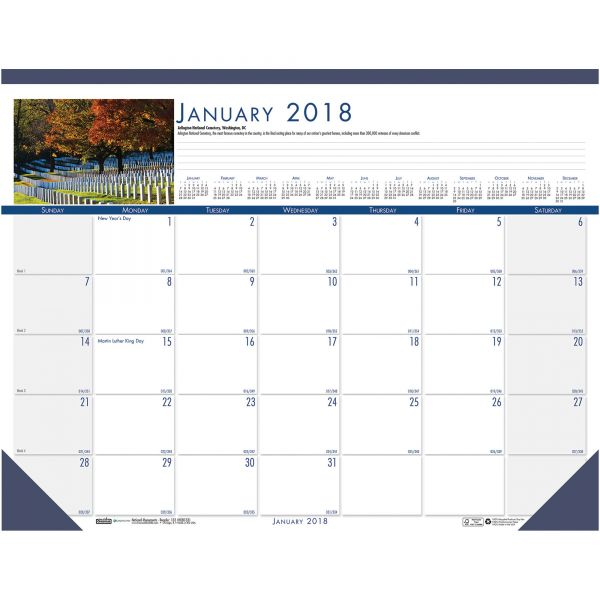 House of Doolittle National Monuments Monthly Desk Pad Calendar