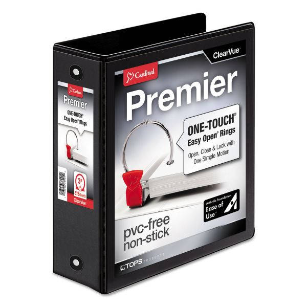 "Cardinal Premier Easy Open ClearVue Locking 3-Ring View Binder, 3"" Capacity, Round Ring, Black"