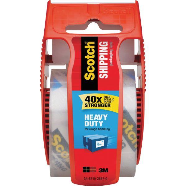 """Scotch 3850 Heavy-Duty Packaging Tape in Sure Start Disp. 1.88"""" x 800"""", Clear"""
