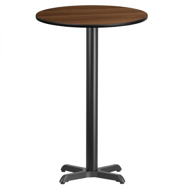 Flash Furniture 24'' Round Walnut Laminate Table Top with 22'' x 22'' Bar Height Table Base