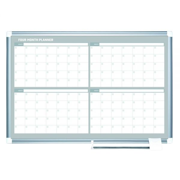 MasterVision 4 Month Planner, 48x36, White/Silver