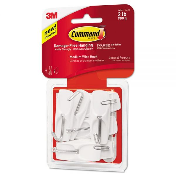 Command General Purpose Wire Hooks, Medium, 2 lb Cap, White, 7 Hooks & 8 Strips/Pack