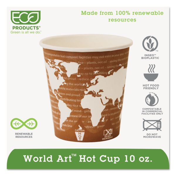 Eco-Products World Art Renewable Compostable Hot Cups, 10 oz., 50/PK, 20 PK/CT