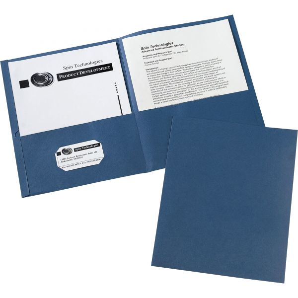 Avery Two-Pocket Folder, 40-Sheet Capacity, Dark Blue, Embossed Paper, 25/Box