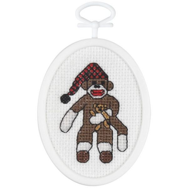 Janlynn Peejay Sock Monkey Mini Counted Cross Stitch Kit