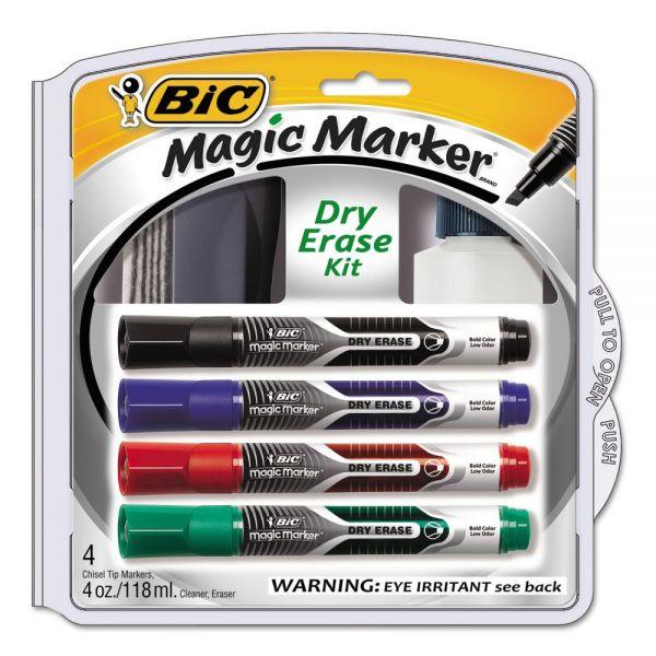 BIC Magic Marker Low Odor & Bold Writing Dry Erase Marker Kit, Chisel, Assort, 4/PK