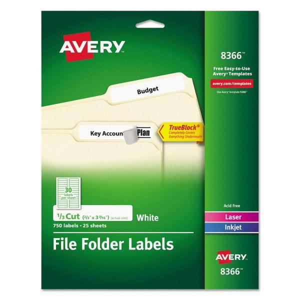 Avery Permanent File Folder Labels, TrueBlock, Inkjet/Laser, White, 750/Pack