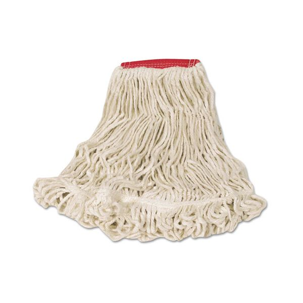 Rubbermaid Commercial Super Stitch Looped-End Wet Mop Head, Cotton/Synthetic, Large Size, Red/White