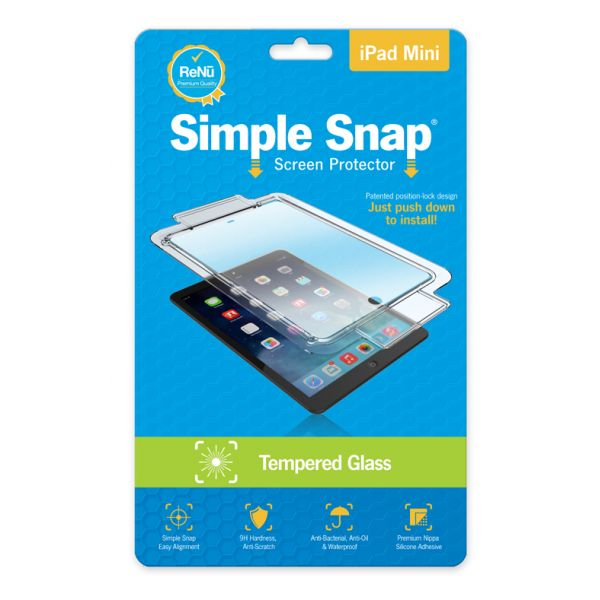 ReVamp Simple Snap Screen Protector (iPad Mini) (Tempered Glass) Transparent