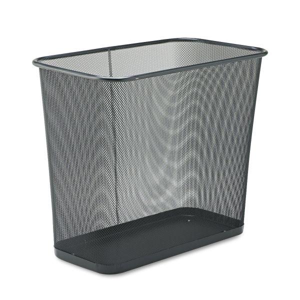 Rubbermaid Commercial Steel Mesh Wastebasket, Rectangular, 7.5gal, Black
