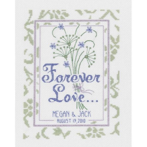 Forever Love Wedding Record Counted Cross Stitch Kit
