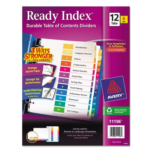 Avery Ready Index 12-Tab Numbered Dividers With Table Of Contents Page