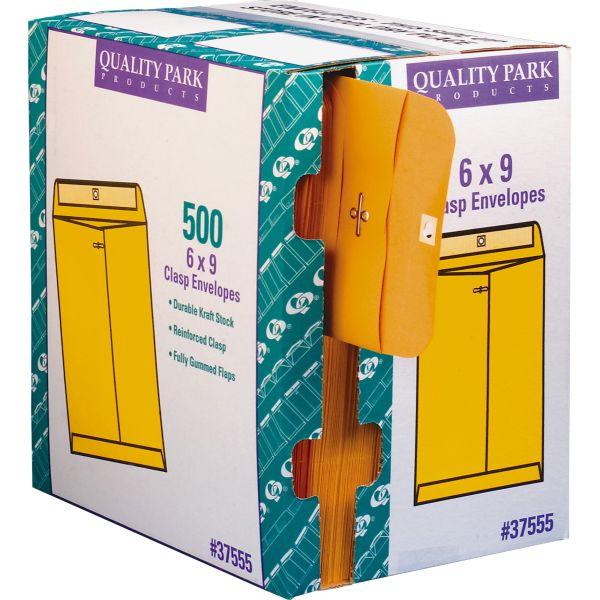 "Quality Park Gummed 6"" x 9"" Clasp Envelopes with Dispenser"