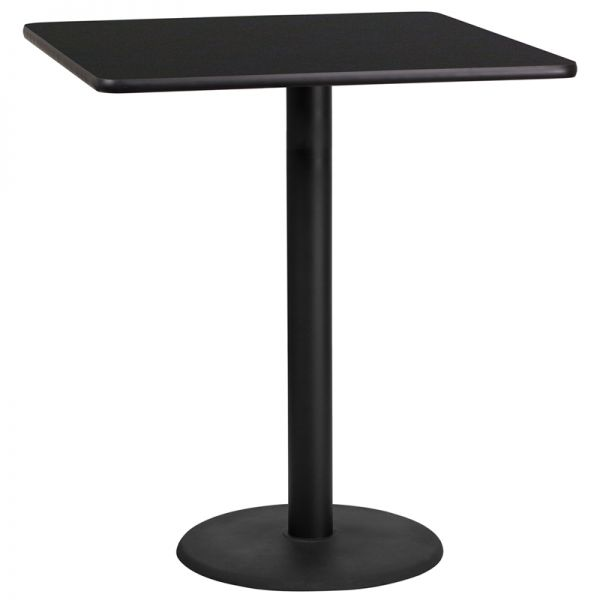 Flash Furniture 36'' Square Black Laminate Table Top with 24'' Round Bar Height Table Base