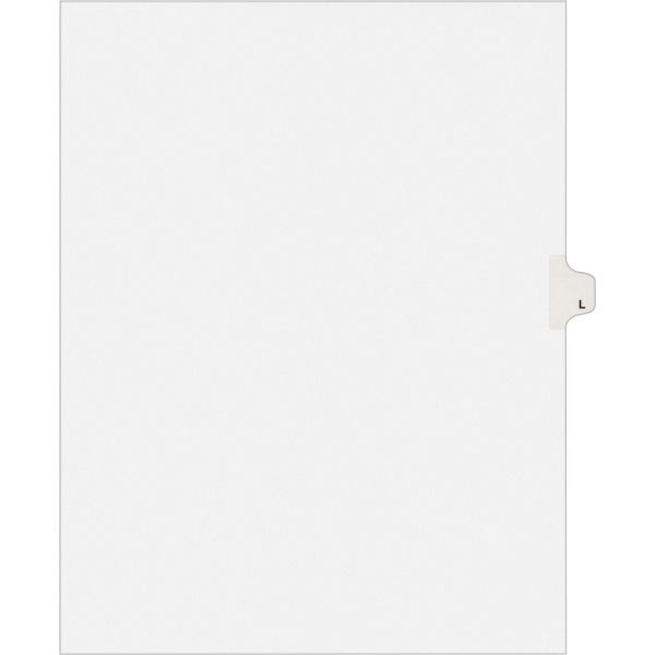 Avery Allstate-Style Legal Exhibit Side Tab Divider, Title: L, Letter, White, 25/Pack