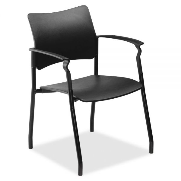 Lorell Plastic Stacking Chair with Arms
