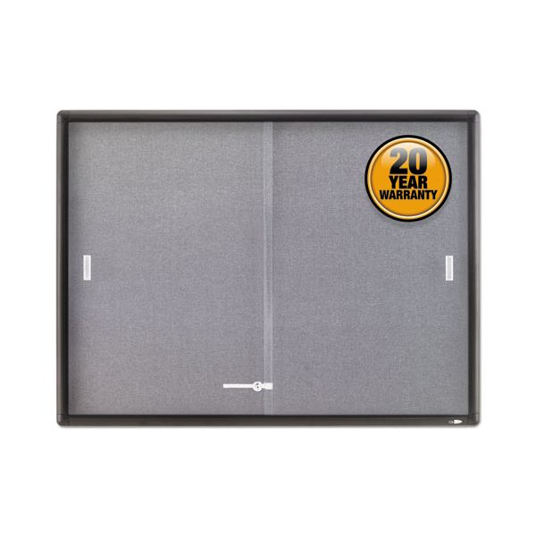 Quartet Enclosed Bulletin Board, Fabric/Cork/Glass, 48 x 36, Gray, Aluminum Frame