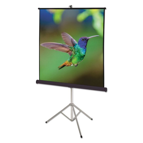 Quartet Portable Tripod Projection Screen, 70 x 70, White Matte, Black Steel Case