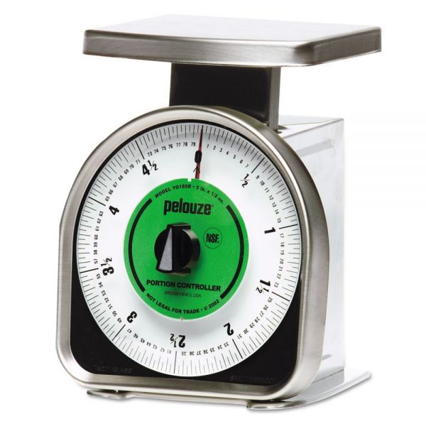Rubbermaid Commercial Pelouze Y-Line Mechanical Portion-Control Scale, 5lb Cap, 6 x 6 Platform