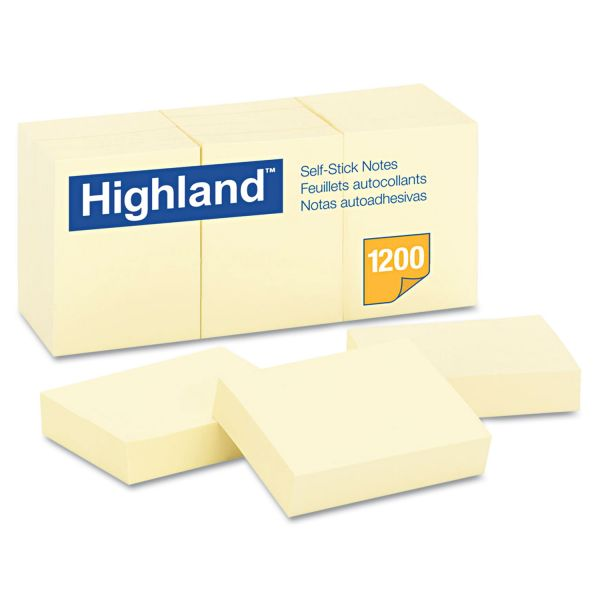 Highland Self-Stick Notes, 1 1/2 x 2, Yellow, 100-Sheet, 12/Pack