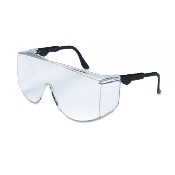 Crews Tacoma Wraparound Safety Glasses, Black Frames, Clear Lenses