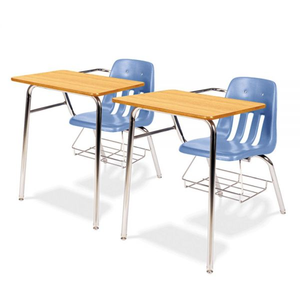 9400 Classic Series Chair Desks, Blueberry, Medium Oak Laminate Top, 2/Ctn