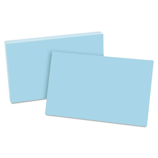 Oxford Unruled Index Cards, 5 x 8, Blue, 100/Pack