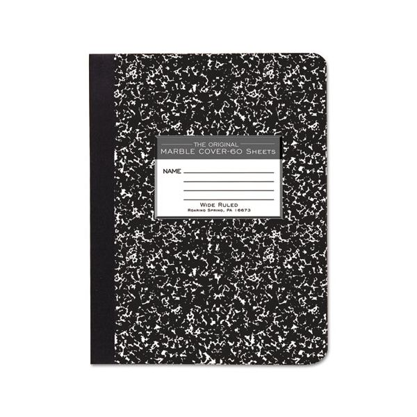 Roaring Spring Marble Cover Composition Book, Wide Rule, 9 3/4 x 7 1/2, 60 Pages
