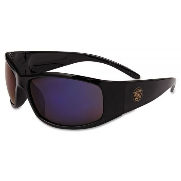 Smith & Wesson Elite Safety Glasses, Black Frame, Blue Mirror Lens