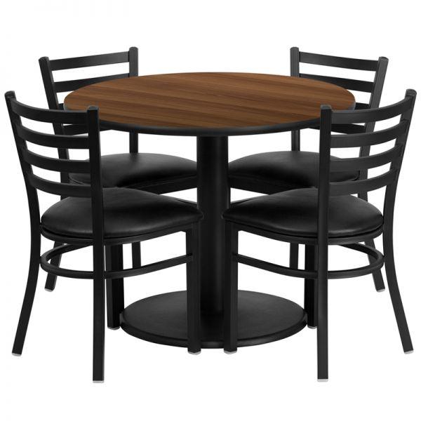 Flash Furniture 36'' Round Walnut Laminate Table Set with 4 Ladder Back Metal Chairs - Black Vinyl Seat