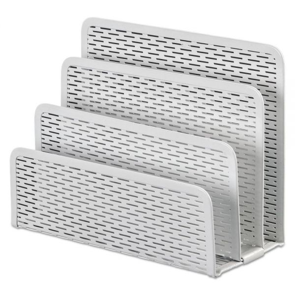 Artistic Urban Collection Punched Metal Letter Sorter, 6 1/2 x 3 1/4 x 5 1/2, White