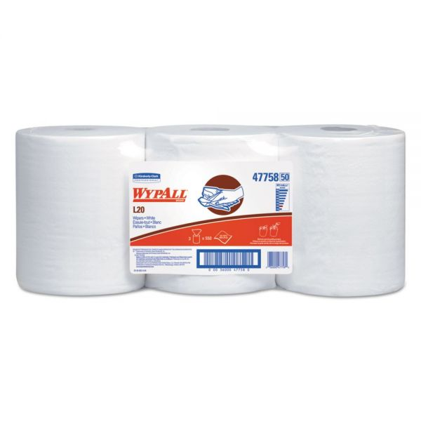 WypAll* L20 Towels, Center-Pull Roll, 2-Ply, 9 4/5 x 13 2/5, White, 550/Roll, 3/Carton