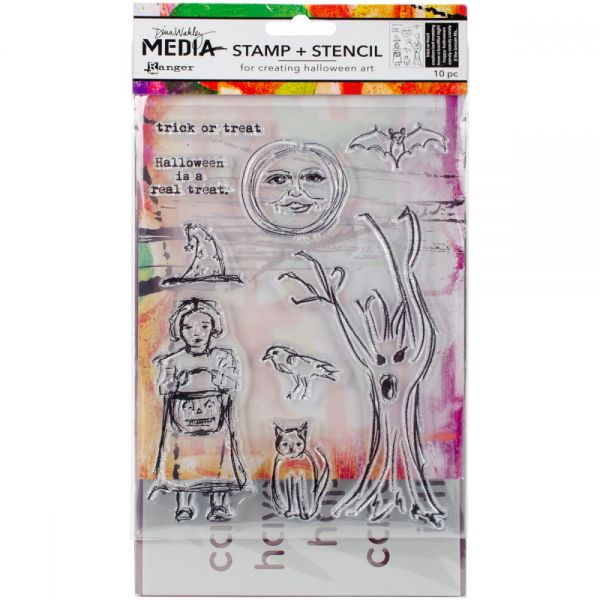 Dina Wakley Media Clear Stamps & Stencil Set