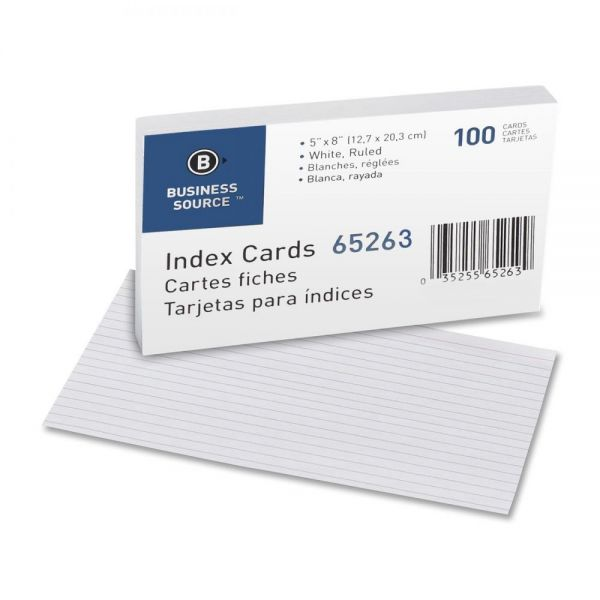 "Business Source 5"" x 8"" Ruled Index Cards"