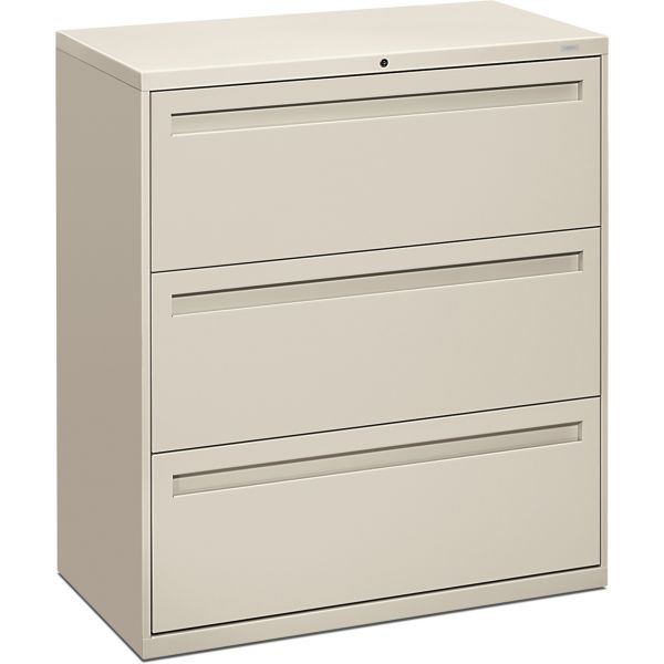 HON 700 Series Three-Drawer Lateral File, Letter/Legal/A4, 36w x 19-1/4d, Light Gray