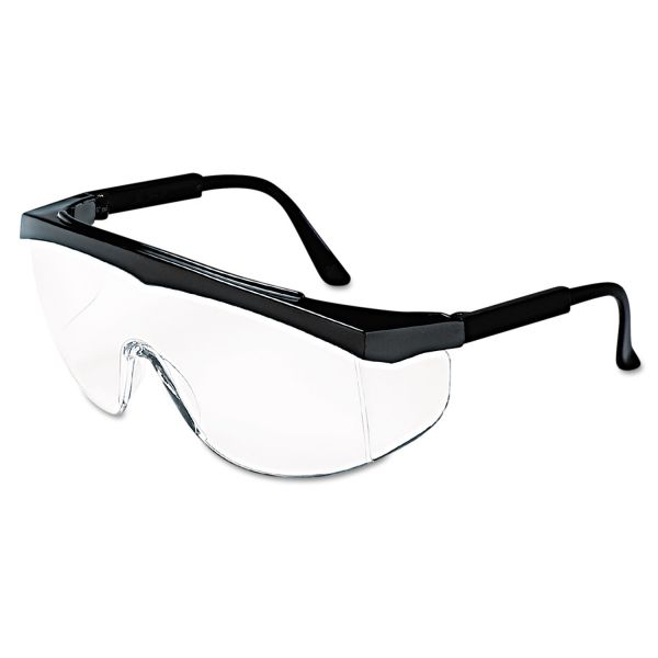 Crews Stratos Safety Glasses, Black Frame, Clear Lens