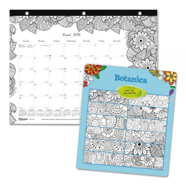Blueline Academic DoodlePlan Mini Desk Pad Calendar w/Coloring Pages