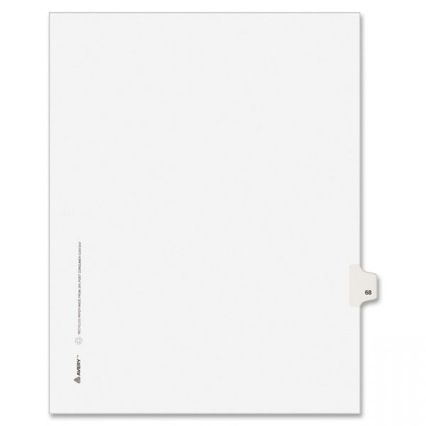 Avery-Style Legal Exhibit Side Tab Divider, Title: 68, Letter, White, 25/Pack