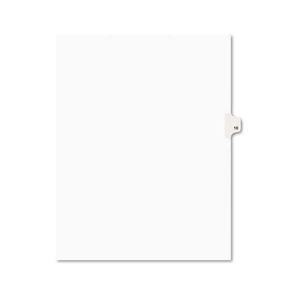 Avery-Style Legal Exhibit Side Tab Divider, Title: 10, Letter, White, 25/Pack