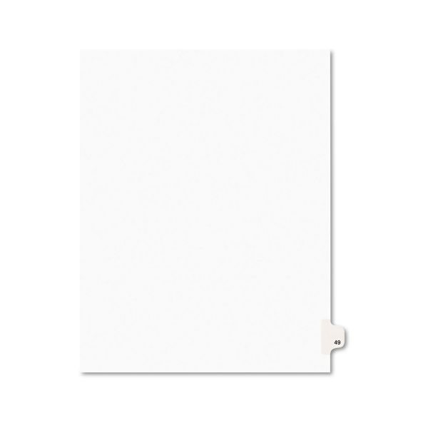 Avery Avery-Style Legal Exhibit Side Tab Divider, Title: 49, Letter, White, 25/Pack