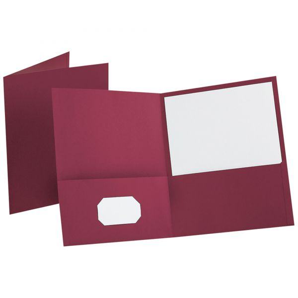 Oxford Twin-Pocket Folder, Embossed Leather Grain Paper, Burgundy, 25/Box