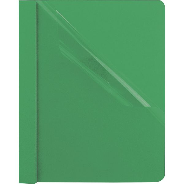 """Oxford Clear Front Report Cover, 3 Fasteners, Letter, 1/2"""" Capacity, Green, 25/Box"""