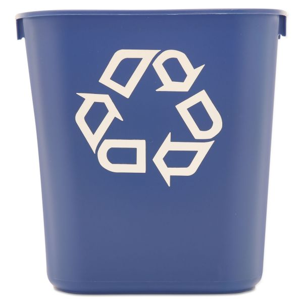 Rubbermaid Commercial Small Deskside Recycling Container, Rectangular, Plastic, 13.625qt, Blue