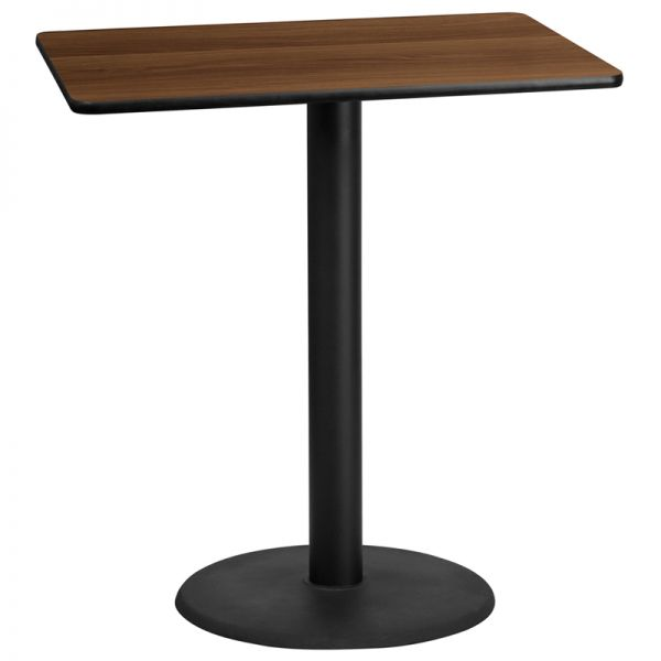 Flash Furniture 30'' x 42'' Rectangular Walnut Laminate Table Top with 24'' Round Bar Height Table Base