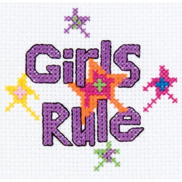 Bucilla My 1st Stitch Girls Rule Mini Counted Cross Stitch Kit