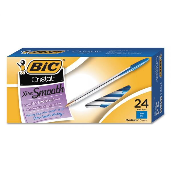 BIC Cristal Xtra Smooth Ballpoint Stick Pen, Blue Ink, 1mm, Medium, 24/Pack